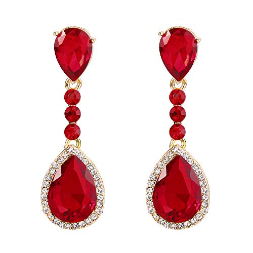 BriLove Gold-Toned Clip-On Dangle Earrings Women's Wedding Bridal Crystal Teardrop Infinity Figure 8 Chandelier Earrings Ruby Color ()