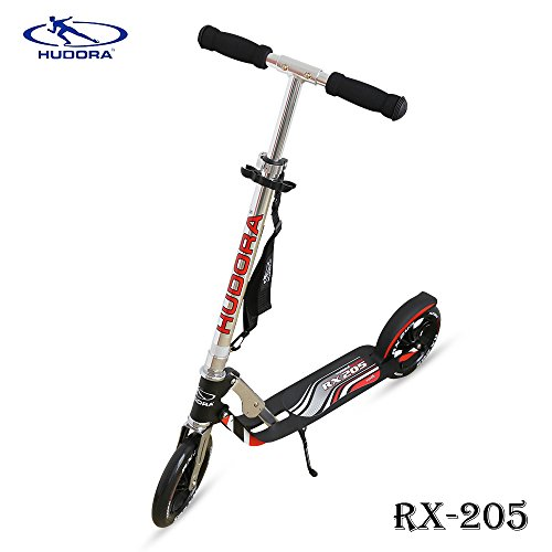 Hudora RX- 205 Kick Scooter with Big PU Cast Wheel Foldable and Adjustable T Handlebar, Reinforced Deck Supports 220lbs Weight Limit(Black), Better for Teens Adults