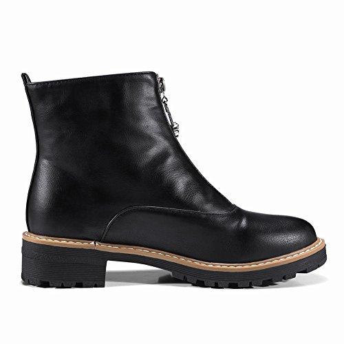 ... YE Damen Flache Ankle Boots Stiefeletten mit Reißverschluss Bequem  Modern Schuhe Schwarz ... d12ddc8abf