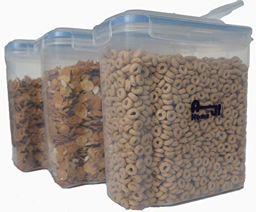 (AJ Home - Cereal Food and Kitchen Storage Containers (3 pack) - Silicone sealed and 4-side locking lid - Safe and certified BPA free, with labels and marking pen, large capacity 4 liter/4.2 quart)