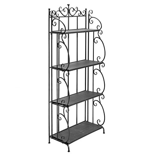 MyGift Victorian Scrollwork Design 57 Inch Tall Folding Black Metal Bookshelf / 4 Tier Storage Organizer Solid Wood Shelves Rack