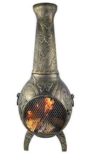 The Blue Rooster CAST Aluminum Butterfly Wood Burning Chiminea in Gold Accent.
