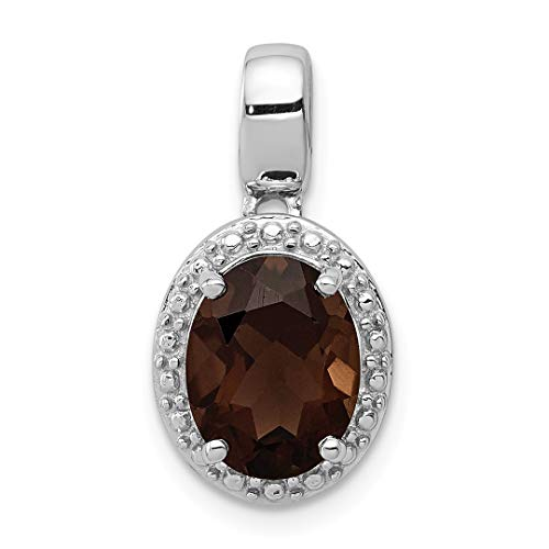 925 Sterling Silver Smoky Quartz Oval Pendant Charm Necklace Gemstone Fine Jewelry For Women Gift Set (Smoky Ring Oval Quartz Faceted)
