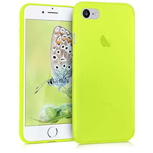 kwmobile TPU Silicone Case for Apple iPhone 7/8 - Soft Flexible Shock Absorbent Protective Phone Cover - Neon Yellow