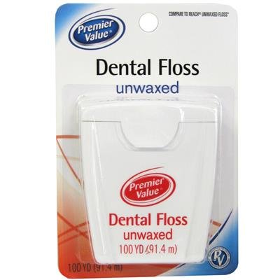 Unwaxed Dental Unflavored Reach Floss - Premier Value Dental Floss Unwaxed - 100 yd