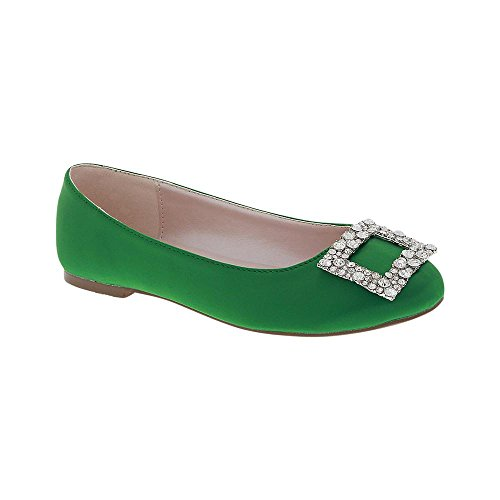 De Blossom Collection Womens Dressy Party Satin Round Toe Dress Ballet Flat With Rhinestone Embellished Buckle Green VkLyWqd0h
