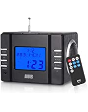 August MB300 Mini Wooden MP3 Stereo System and FM Clock Radio, with Card Reader, USB Port & AUX Jack (3.5mm Audio in), 2 x 3W Powerful Hi-Fi Speakers and Built-in Rechargeable Battery (Whole Black)