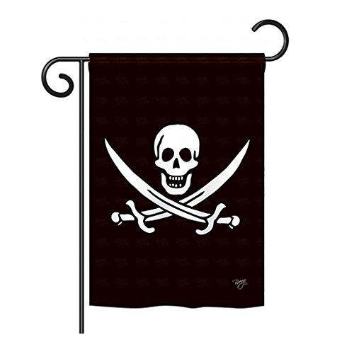 Calico Jack Rackham Flag - Breeze Decor G157031 Calico Jack Rackham Coastal Pirate Impressions Decorative Vertical Garden Flag 13