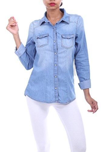 Womens Denim Chambray Shirts Long Sleeve Top with Rolled Sleev LIGHT WASH M (Women Light Wash)