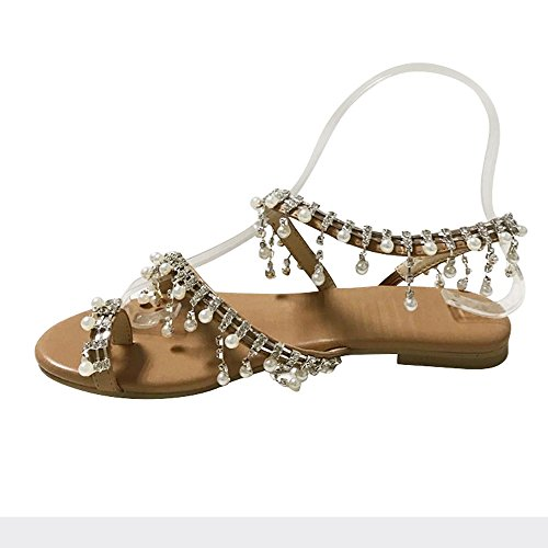 32ceda70c4912 Womens Summer Bohemia Flat Sandals Beads Pearl Beach Clip Toe Flip Flops  Flat Bottom Sandals Shoes (39, Brown)