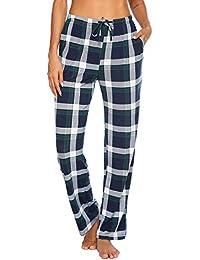 Women Lounge Pants Comfy Pajama Bottom with Pockets Stretch Plaid Sleepwear Drawstring Pj Bottoms Pants