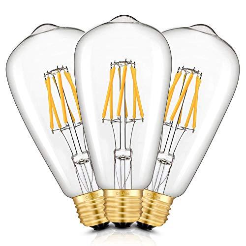 CRLight LED Edison Bulb 6W Dimmable 2700K Warm White 700LM, 60W Equivalent E26 Medium Base, ST21(ST64) Vintage LED Filament Bulbs, 360 Degrees Beam Angle, Pack of - Base Led Medium