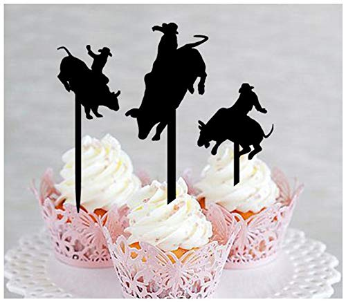Decoration,Cupcake topper,Anniversary,Wedding,Birthday,Party, Bull Riders, rodeo cowboys prayer silhouette : 10 pcs