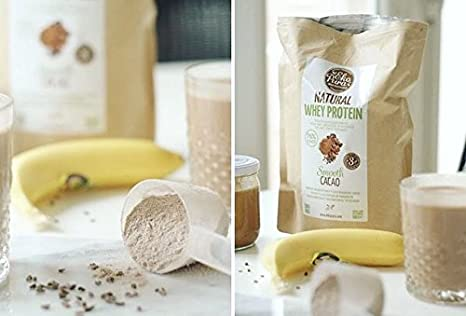 Natural Whey Protein - Smooth Cacao - 76% Proteína - Proteína de suero Orgánico - Sin Aditivos - Libre de GMO - Sin Soja - 500g