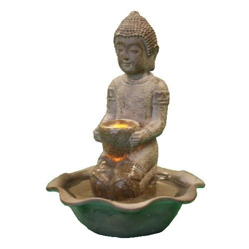 Welland Tabletop Kneeling Buddha Water Feature with LED Light