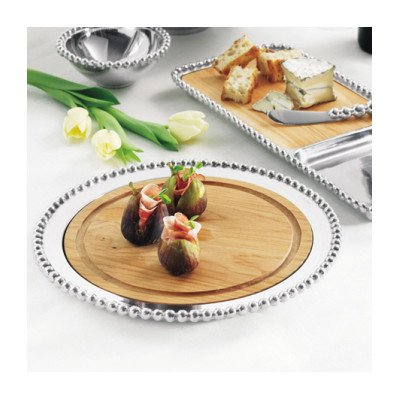 Mariposa 617 Pearled Round Maple Cheese Board One Size Silver