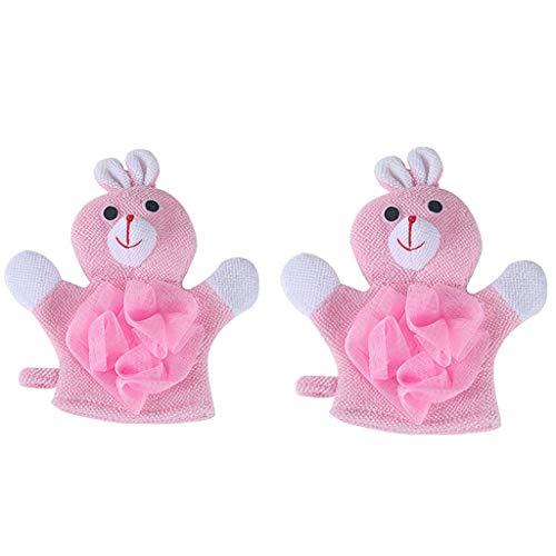 Orcbee  _1 Pair Compound Cotton Children Bath Rub Gloves Shower Body Wash Puff Mesh (Pink) (Rub Faucet)