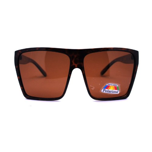 Polarized Extra Oversize Flat Top Mobster Rectangular Fashion Sunglasses - Mobster Sunglasses