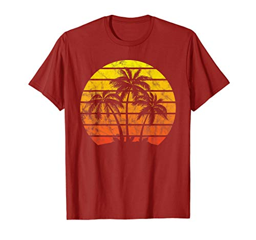 Retro Vintage sunset coco palm tree shirts tropical beach]()