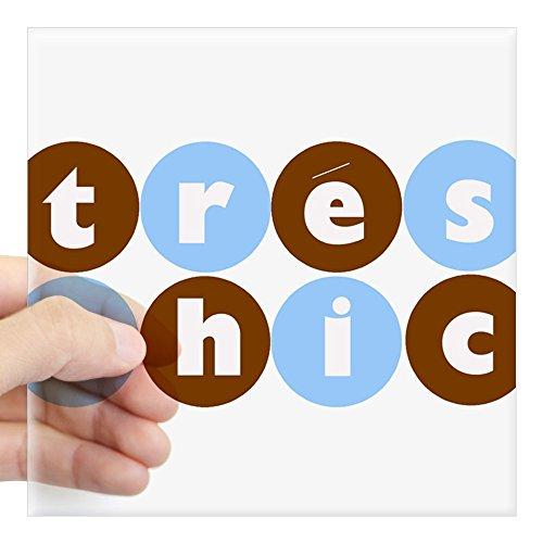 CafePress - Tres Chic Square Sticker (Blue And Chocolate) - Square Bumper Sticker Car Decal, 3