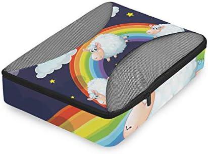 ジャンプ羊の虹の雲荷物パッキングキューブオーガナイザートイレタリーランドリーストレージバッグポーチパックキューブ4さまざまなサイズセットトラベルキッズレディース