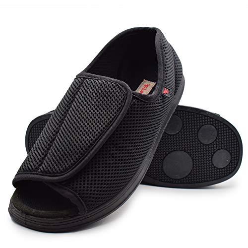 (W&Lesvago Womens Open Toe Diabetic Slippers, Adjustable Orthopedic Wide Width Walking Shoes for Arthritis Edema (Women 10#, Black))