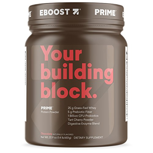 EBOOST Prime Highly Purified Grass-fed Whey Protein Powder, Chocolate BCAA, Prebiotic Fiber, CFU Probiotics, No Added Hormones to Build Muscle and Recover Quickly 22.9 Ounce
