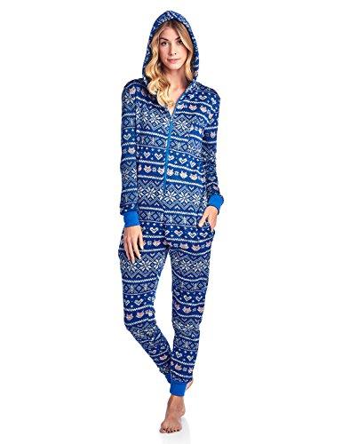 Ashford & Brooks Women's Sweater Fleece Zip Up Hooded Jumpsuit One Piece Pajama - Princess Fox Blue/L. Pink - -
