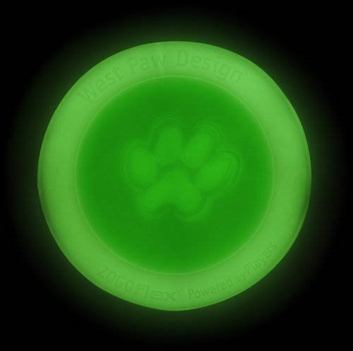 West Paw Design Zisc Large 8.5-Inch Zogoflex Durable Dog Toy, Glow, My Pet Supplies
