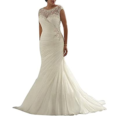 Beauty Bridal Ivory/White Mermaid Plus Size Sleeveless Wedding Dresses for Bride
