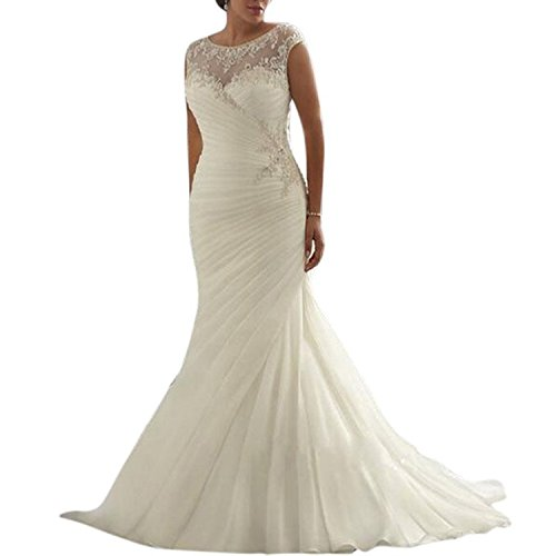 Beauty Bridal Ivory/White Mermaid Plus Size Sleeveless Wedding Dresses for Bride (22W,White)