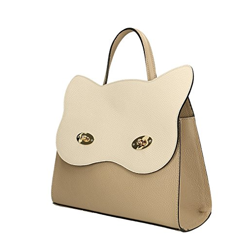 Handbag a Mano Pelle in Chicca 32x28x13 Vera Cm Taupe Made Borse Borsa Beige in italy B45gtw1q
