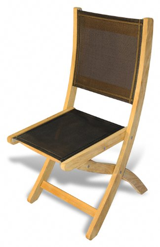 Teak Folding Chair without arms Sling Seat - PAIR by GOLDENTEAK