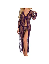 Fanteecy Lingerie for Women Sexy Long Lace Dress Sheer Gown See Through Kimono Robe Mesh Lingerie Nightwear Dress