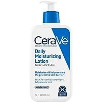 CeraVe Daily Loción Hidratante | 12 onzas | Loción facial y corporal para pieles secas con ácido hialurónico | Sin perfume