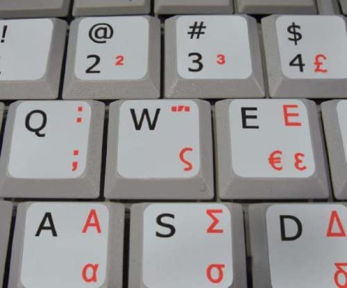 GREEK-ENGLISH NON-TRANSPARENT KEYBOARD STICKERS ON LIGHT GREY BACKGROUND