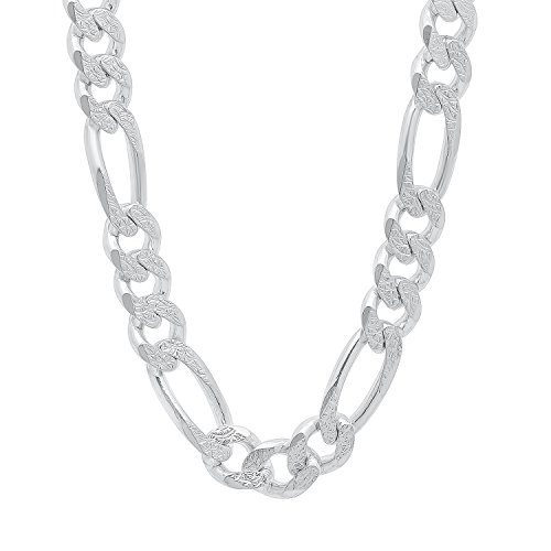 10.7mm 925 Sterling Silver Italian Crafted Diamond-Cut Figaro Link Chain, 22