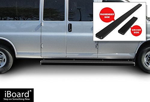 APS iBoard (Black Powder Coated 6 inches) Running Boards | Nerf Bars | Side Steps | Step Rails for 2003-2019 Chevy Express/GMC Savana 1500/2500/3500 Full Size Van
