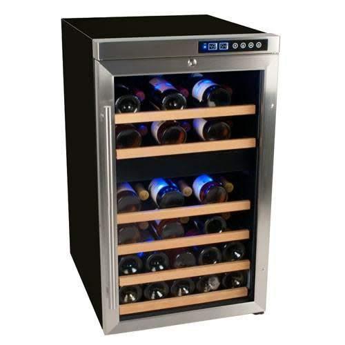 EdgeStar 34 Bottle Free Standing Dual Zone Wine Cooler - Black/Stainless Steel by EdgeStar