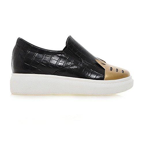 AgooLar Damen Mittler Absatz Gemischte Farbe Ziehen auf Weiches Material Pumps Schuhe Golden