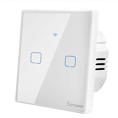 Sonoff T1 Smart Switch WiFi Interruptor de Luz de Pared 2 Gang ...