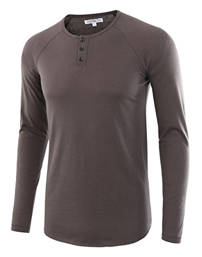 3 Button Casual Shirt - HARBETH Men's Casual Long Sleeve Henley Shirt Raglan Fit Baseball T-Shirts Tee Charcoal XL