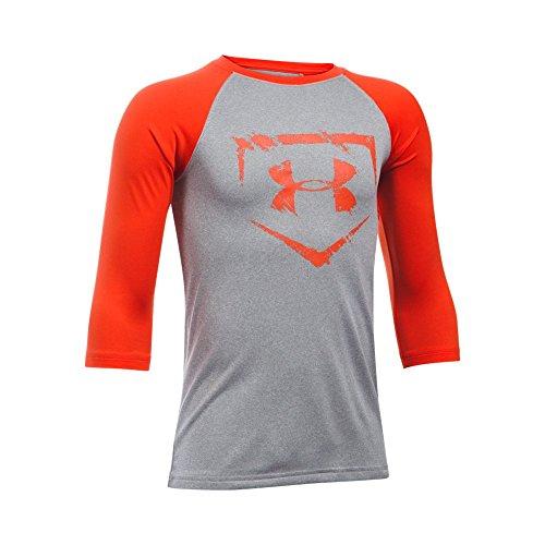 Under Armour Boys' Baseball ¾ Sleeve, True Gray Heather/Dark Orange, Youth Medium