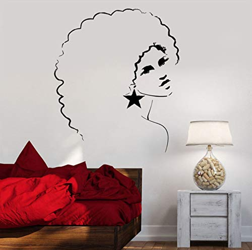 Pbldb Sexy Vinyl Girl Wall Decal Sexy Disco Girl Woman Afro Hair Style Mural Wall Sticker Bar Salon Bedroom Home Decoration 56X70Cm -
