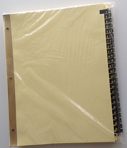 Ring Book Index Dividers Numbered 1 - 100, Gold on Black Leather Tabs, for 8.5 x 11 Sheets - Full Set