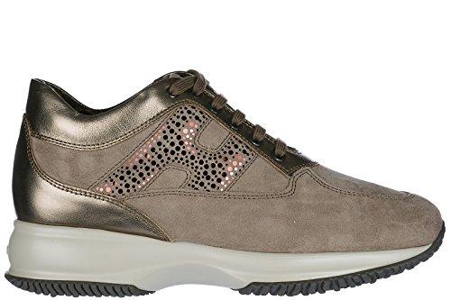 Da Scarpe Donna In Hogan Ginnastica Interactive Beige Camoscio Sneakers wPZxO7n