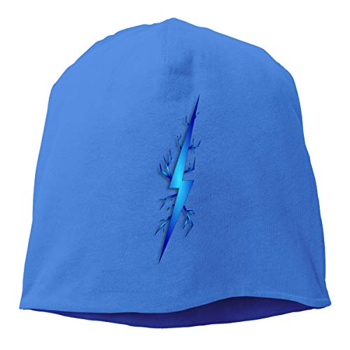 Xxh Top Level Knit Beanie Hat for Men Women Blue Lightning Bolt Cotton Skull Cap ()