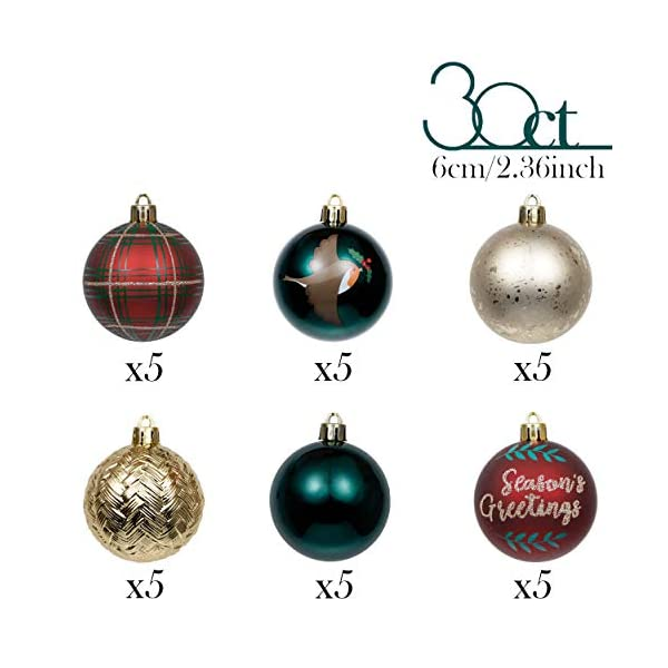 Valery Madelyn Palle di Natale 30 Pezzi 6cm Palline di Natale, Strada di Campagna Rosso Verde e Oro Infrangibile Ornamenti Palla di Natale Decorazione per la Decorazione Dell'Albero di Natale 3 spesavip