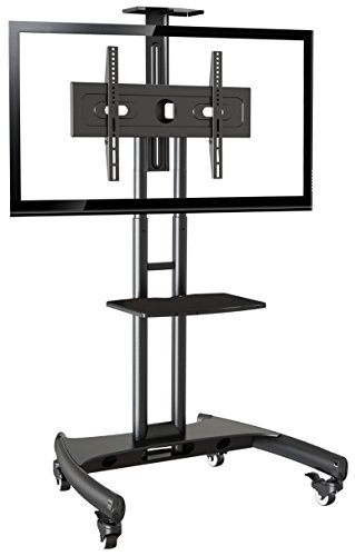 Rocelco VSTC Adjustable Height Mobile TV Stand, for 32-70 inch Flat Screen TVs, with with AV and Webcam Shelf - Black by Rocelco
