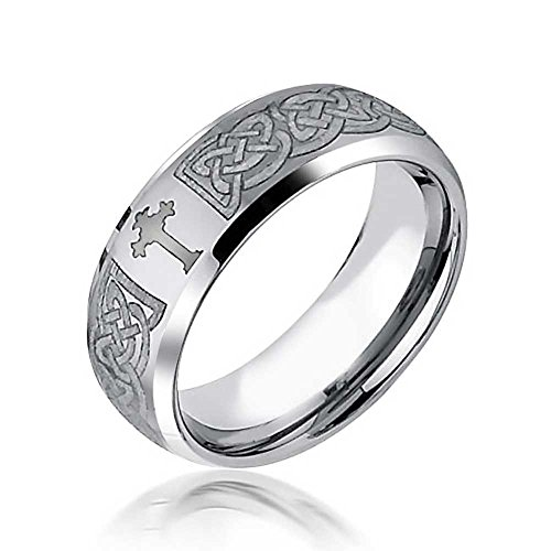- Bling Jewelry Etched Irish Celtic Knot Maltase Cross Couples Wedding Band Tungsten Rings for Men for Women Matte Silver Tone 8MM